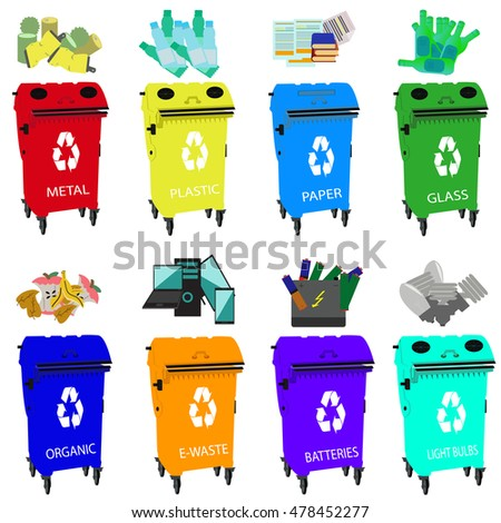 Containers for recycling, waste types segregation recycling organic, batteries, metal plastic, paper, glass, e-waste, light bulbs,bins.