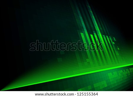 Contemporary architecture. green on black - stock vector