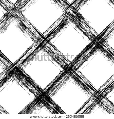 Contemporary art design grunge vector seamless texture for textile design. It was drawn by dry brush. Black and white grungy pattern with large messy stroke elements. Can be used as a print - stock vector