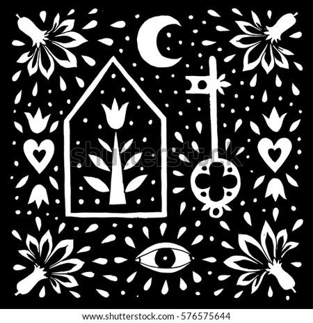 Contemporary Art Print With Folk Motive Hand Drawn Flower Illustration Nordic Design