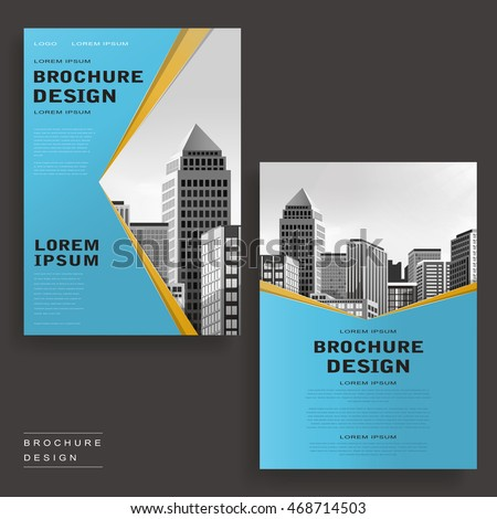 contemporary brochure template design with city landscape and geometric elements