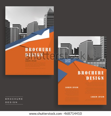 contemporary brochure template design with city landscape and origami elements