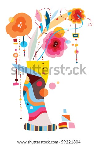 Contemporary design with stylized flowers in vase. - stock vector