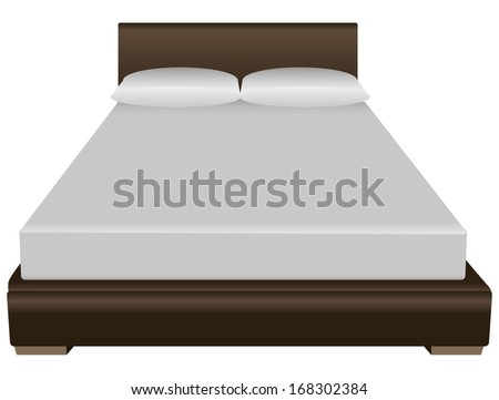 Contemporary double bed with a pillow and sheets. Vector illustration. - stock vector