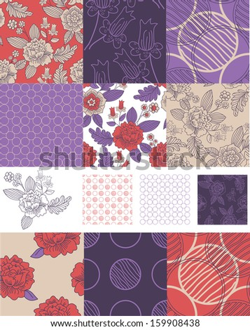Contemporary Floral Vector Seamless Patterns.  Use to create patchwork pieces for quilts or digital paper for craft projects. - stock vector