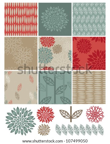 Contemporary Flower Seamless Vector Patterns and Icons.  Use to create digital paper for craft projects or print onto fabric for home furnishings. - stock vector