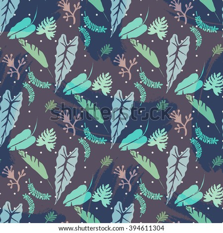Contemporary geometric fashion print with palm leaves and stripes in vector .Abstract seamless wallpaper pattern Abstract wallpaper pattern .Stylish Tropical leaves border.