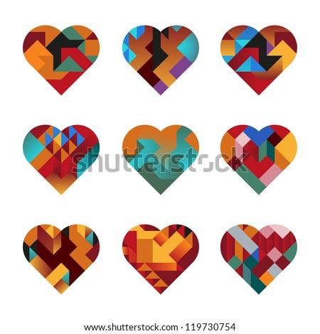 Contemporary Hearts of Interlocking Abstract Shapes - stock vector