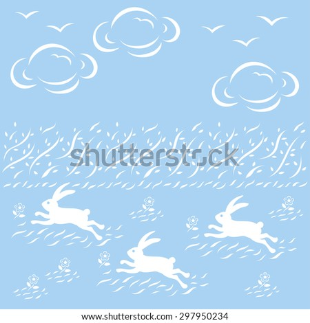 Contemporary Japanese pattern design, rabbits run in the grass field - stock vector
