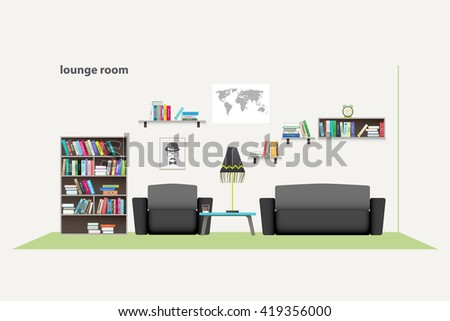 contemporary living room with furniture isolated on white background. vector, flat style relaxing interior. stylish lounge room illustration. lifestyle concept, luxury apartment decoration - stock vector
