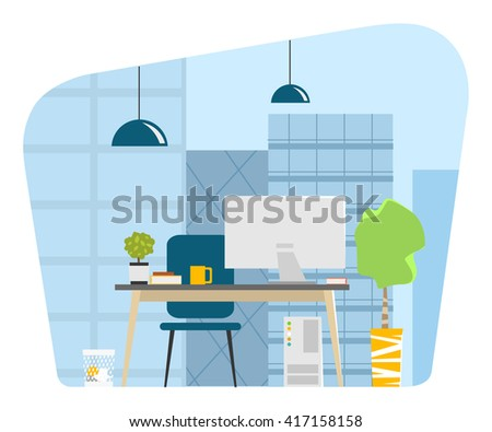 Contemporary modern office workplace with big window skyscrapers cityscape city view Vector illustration - stock vector