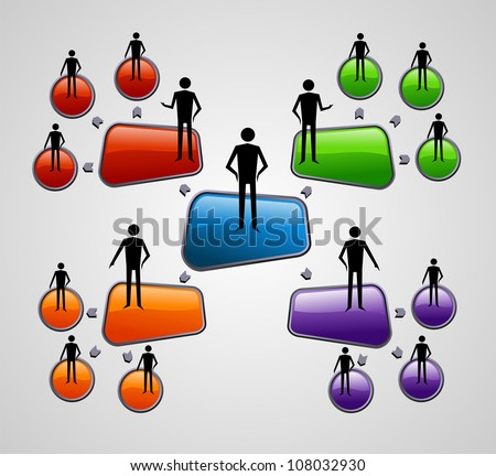 Contemporary social media diagram with people presentation template. Vector file layered for easy manipulation and custom coloring. - stock vector