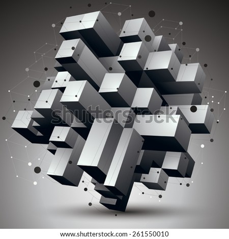 Contemporary technology black and white stylish architectural construction, abstract 3d figure with connected lines and dots. - stock vector