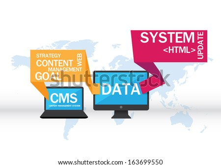 Content management system vector - stock vector