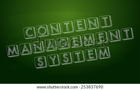 content management system - white chalk text over green blackboard, CMS internet concept words, vector - stock vector