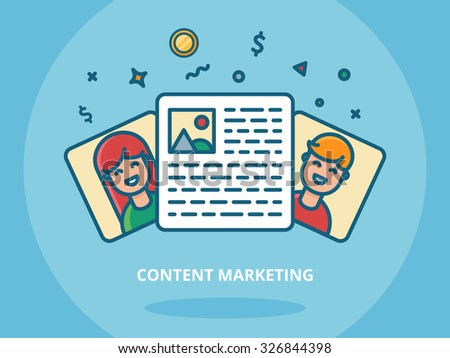 Content marketing and blogging concept vector illustration - stock vector