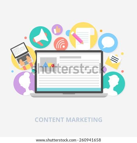 Content marketing concept, vector illustration - stock vector