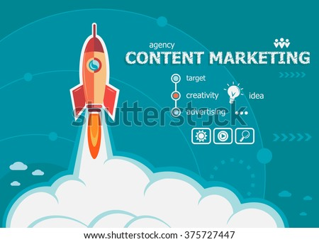 Content marketing design and concept background with rocket. Content marketing concepts for web banner and printed materials.