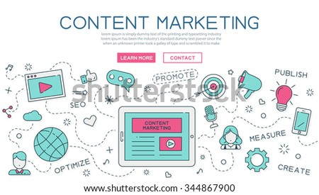 Content, marketing for website banner and landing page , eps10 vector format - stock vector