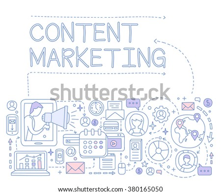 Content Marketing Infographics. Hand drawn Vector Illustration Design for the web site, first page - stock vector