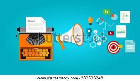 content marketing seo optimization online blog - stock vector