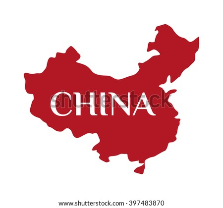 Continent country geography china map and continent travel china map. Continent cartography asia symbol china map, continent graphic world border republic. High detailed red vector China map. - stock vector