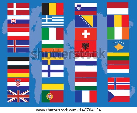 Continent flags of the world against blue background, abstract vector art illustration