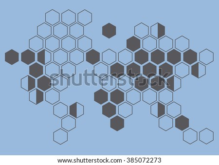 continent hexagon on blue background wall pattern