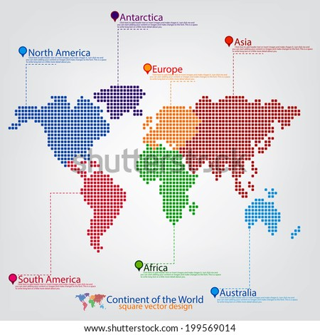 Continent MAP of the World - stock vector