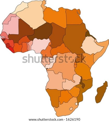 Continent of Africa in colour (vector) - stock vector