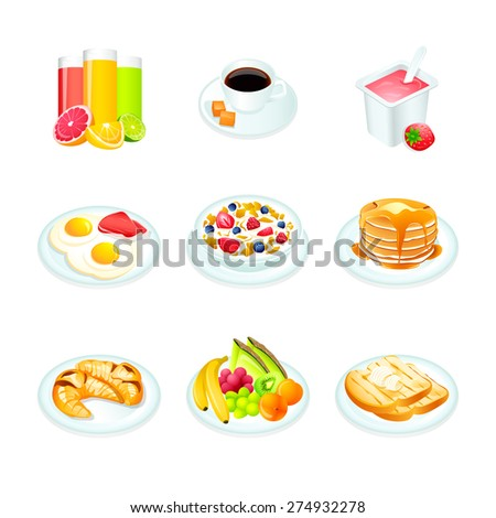 Continental breakfast realistic icons isolated - stock vector