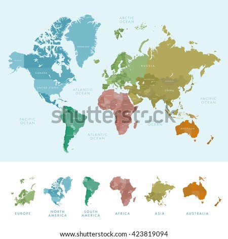 Continents and countries on the world map marked. Colored highly detailed world map. Vector illustration  - stock vector