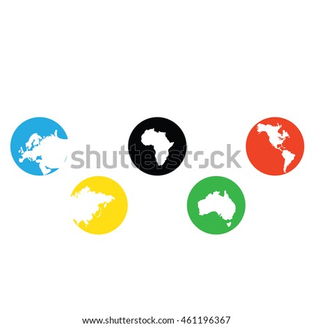 Continents in circles. Vector illustration