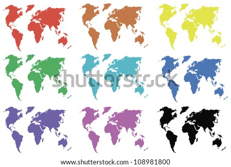 continents in the colors of the rainbow