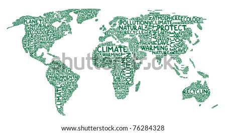 Continents made of ecology words - stock vector