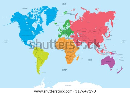 Continents of the World and political Map - stock vector