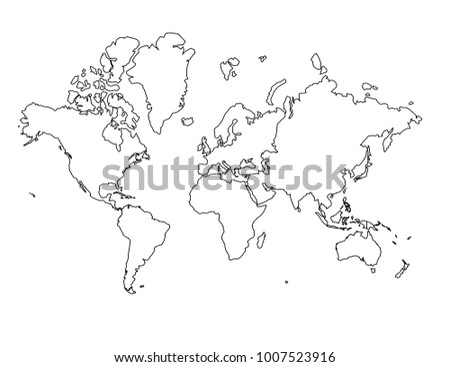 Continents Outline Map. Detailed Isolated Vector Country Border Contour  Maps On White Background.