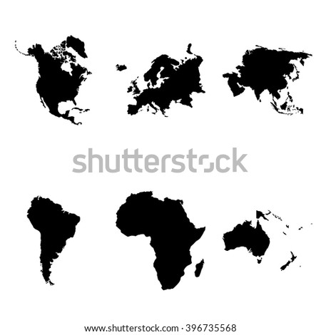 Continents silhouette geographical 6 simple  icons set - stock vector