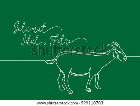 Continues line drawing goat greeting card stock vector hd royalty continues line drawing of goat greeting card contain wording selamat idul fitri in indonesian language m4hsunfo