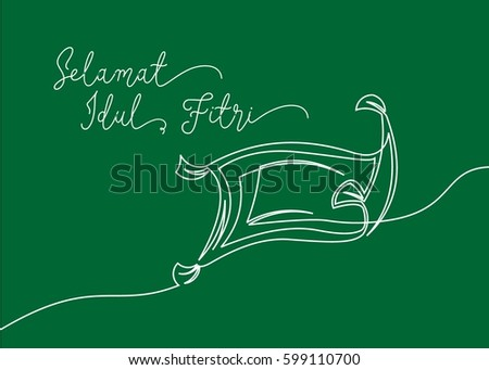 Continues line drawing little carpet greeting stock vector 599110700 continues line drawing of little carpet greeting card contain wording selamat idul fitri in indonesian m4hsunfo