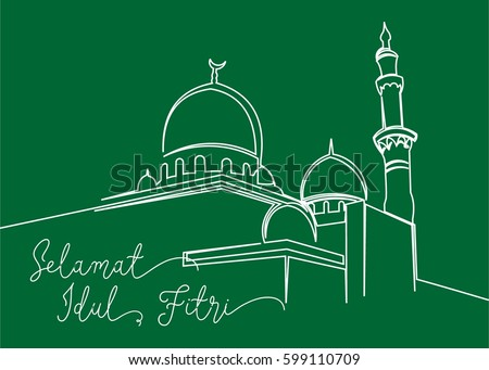 Continues line drawing masjid greeting card stock vector 599110709 continues line drawing of masjid greeting card contain wording selamat idul fitri in indonesian language m4hsunfo