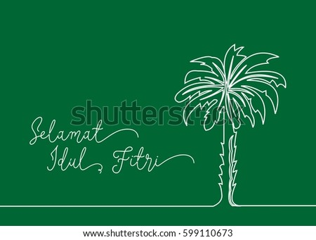 Continues line drawing palm tree greeting stock vector 2018 continues line drawing of palm tree greeting card contain wording selamat idul fitri in indonesian m4hsunfo