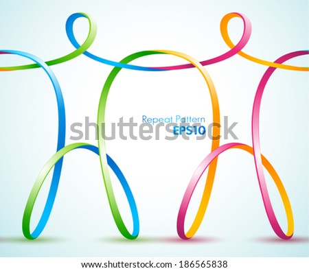 Continues vector design of connected ribbon figures  - stock vector