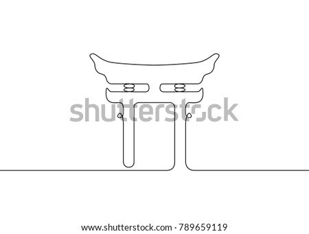 Continuous Drawn One Line Isolated Symbol Stock Vector 2018