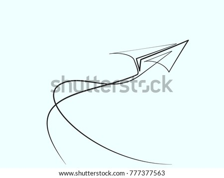 Continuous line different width drawing of paper airplane. Vector business icon message illustration