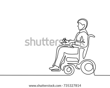 Continuous line drawing. Disabled man on electric wheelchair enjoy with moving. Vector illustration total editable, choose thickness and place of line