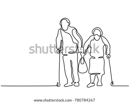 Continuous line drawing. Happy elderly couple walking with bag. Vector illustration