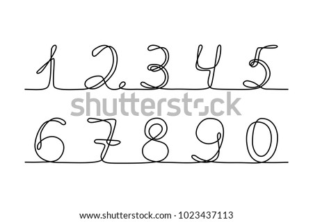 Continuous Line Drawing Numbers Black Isolated On White Background Hand Drawn Vector Illustration