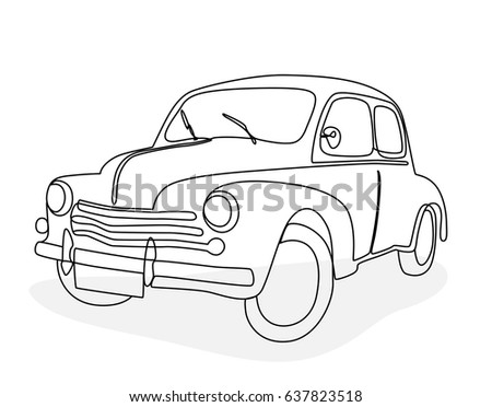 Car Line Draw Insurance Rent Damage Stock Vector