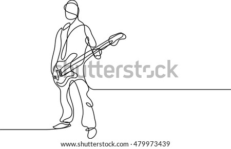 Continuous Line Drawing Of Bass Player